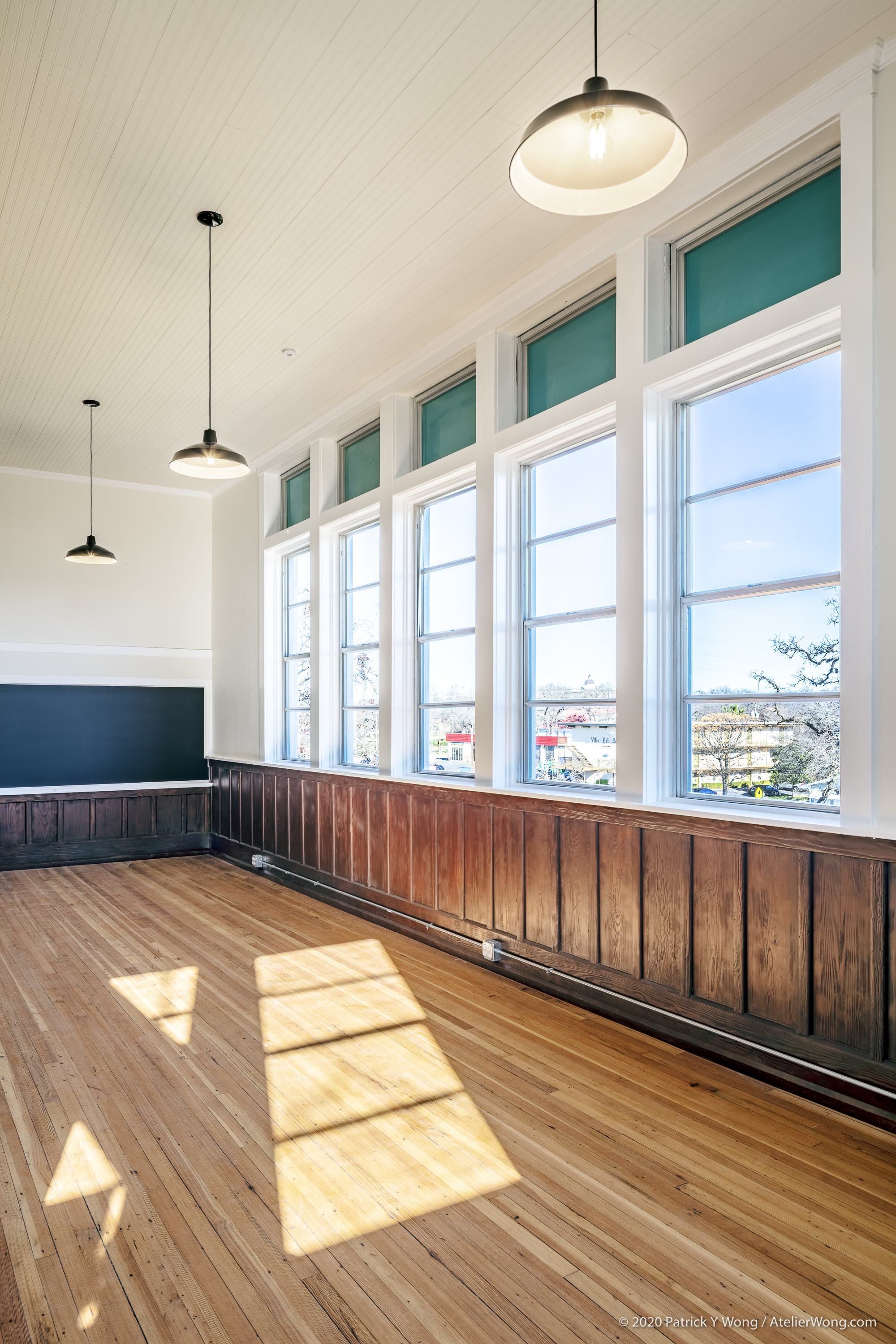 Restored, Historic Wainscot and Chalkboard in the Baker School in Austin, Texas