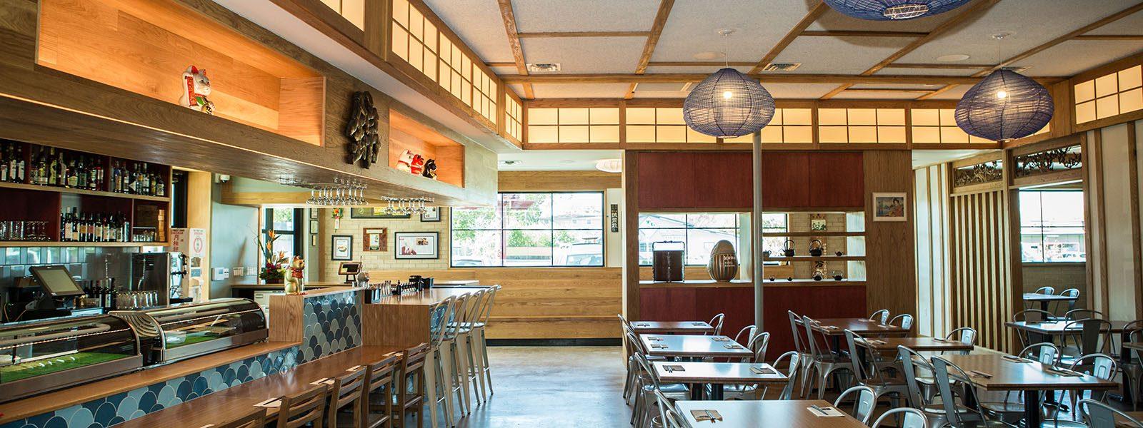Dining Room of Japanese restaurant, Kome, in Austin, Texas